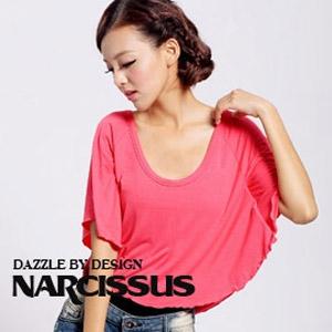[ NARCISSUS ] 百搭款斗篷式飛鼠袖罩衫上衣 玫瑰紅
