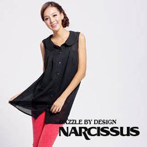 [NARCISSUS] 圓領球型長版雪紡襯衫  墨黑