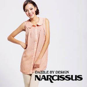 [NARCISSUS] 圓領球型長版雪紡襯衫  粉桔底/白圓點印花
