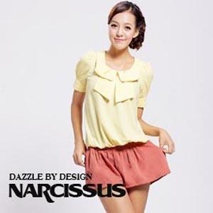[ NARCISSUS ] 甜美系領結造型束腰上衣 駱黃