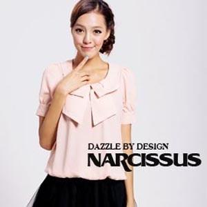 [ NARCISSUS ] 甜美系領結造型束腰上衣 粉膚