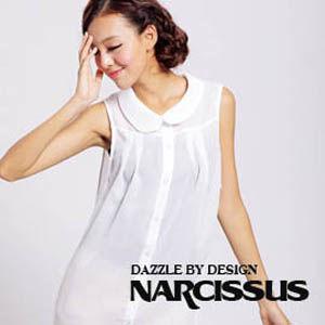 [ NARCISSUS ] 圓領球型長版雪紡襯衫 純白
