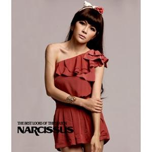 [ NARCISSUS ] 斜肩荷葉連身短褲 珊瑚紅