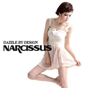 [NARCISSUS] 可拆式肩帶 馬甲拼接洋裝 米白/裸色