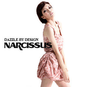 [NARCISSUS] 抽象玫瑰印花 V領無袖花苞澎裙洋裝 粉膚色