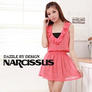 [ NARCISSUS ] 馬德里雪紡荷葉無袖洋裝 橘紅