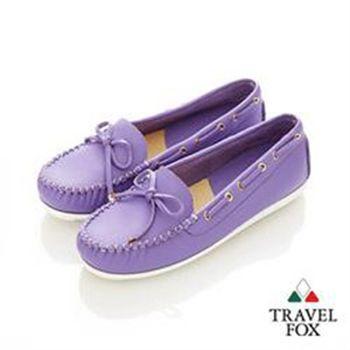 Travel Fox(女)★我的金扣子 淺口豆豆帆船鞋 - 甜蜜紫
