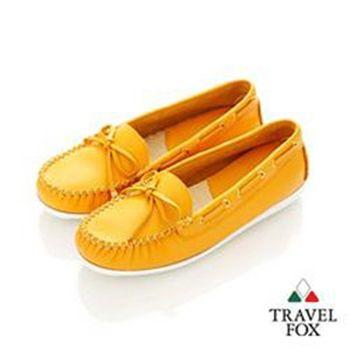 Travel Fox(女)★我的金扣子 淺口豆豆帆船鞋 - 活力橘