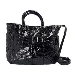 PRADA 黑色漆皮拼接手提包(附背袋) BN1543-NERD