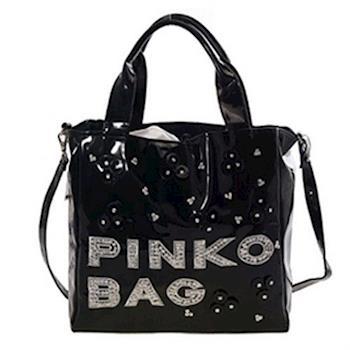 PINKO 漆皮亮片串珠兩用包 12D035 nero