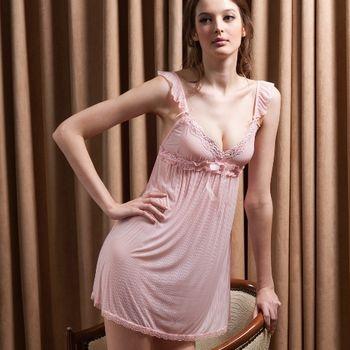 【皮爾卡登】粉膚水鑽牛奶絲質性感睡衣