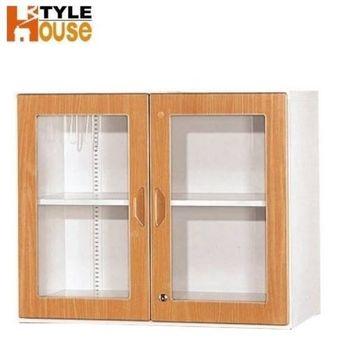 【時尚屋】鋼木玻璃門兩層式牆櫃(低) 278-6