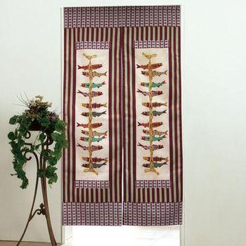 棉花田【串魚】日式印花長門簾-紅色(85x150cm)