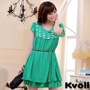 【KVOLL大尺碼】綠色層疊鱗片壓褶雪紡連衣裙JK-0334