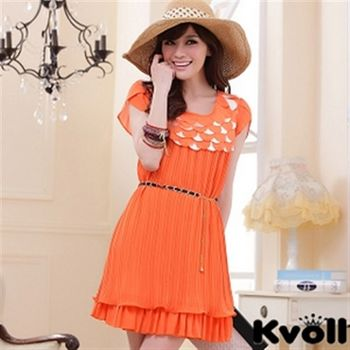 【KVOLL大尺碼】橙色層疊鱗片壓褶雪紡連衣裙JK-0334