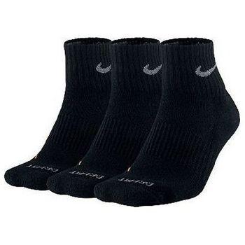 Nike 男舒適DRI-FIT1/4高度黑色運動襪3件組