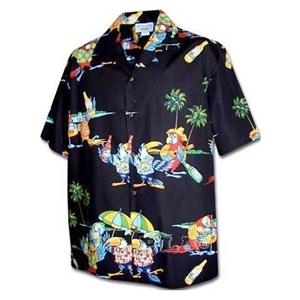 【夏威夷襯衫】2013瑪格麗特鸚鵡頭黑色夏威夷襯衫