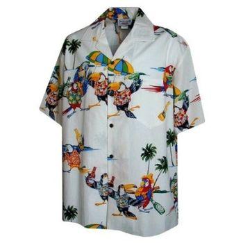 【夏威夷襯衫】2013瑪格麗特鸚鵡頭白色夏威夷襯衫