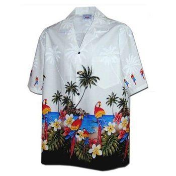 【夏威夷襯衫】2013鸚鵡海灘椰子鈕釦白色夏威夷襯衫