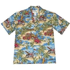 【夏威夷襯衫】2013海灘衝浪藍色夏威夷襯衫