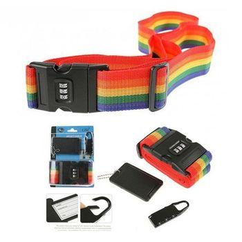 PUSH! 旅遊用品三件組 行李束帶+行李吊牌+密碼鎖