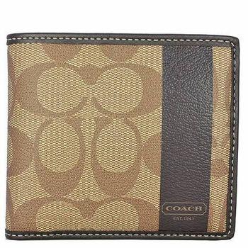 COACH PVC防水材質零錢袋短夾-卡其-O網