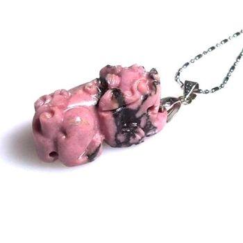 【杉梵】玫瑰石貔貅墜鍊