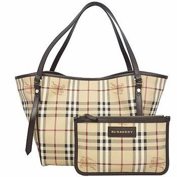 BURBERRY 經典騎士格紋手提/肩背水桶包(附可拆小袋)咖啡-O網