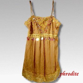 【Aphrodite/蘿黛蒂】亮片雪紡蕾絲上衣(金黃色)網