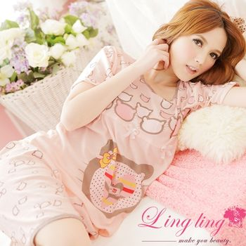 【lingling】蝶結貓咪T恤二件式睡衣組(輕甜嫩桔)A877