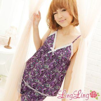 【lingling】多彩豹紋細肩帶二件式睡衣組(迷情紫彩)A372