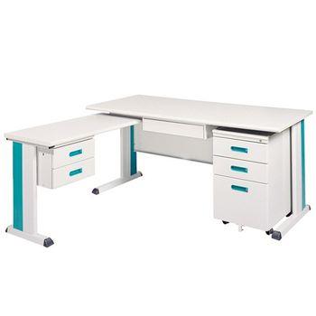 【時尚屋】KD150淺灰色L型辦公桌櫃組262-5