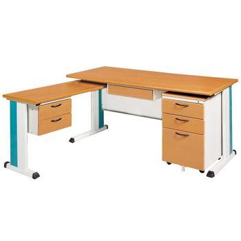【時尚屋】SKD150木紋L型辦公桌櫃組260-10