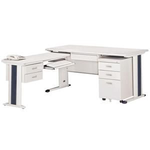 【時尚屋】KH150淺灰色L型辦公桌櫃組259-1