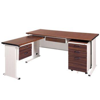 【時尚屋】BTH150胡桃木紋L型辦公桌櫃組253-7