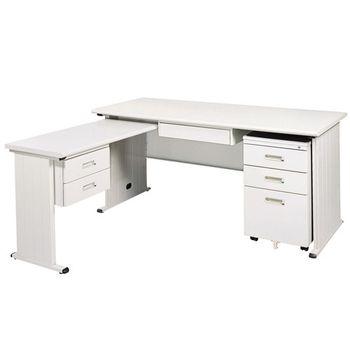 【時尚屋】THA150淺灰色L型辦公桌櫃組249-1