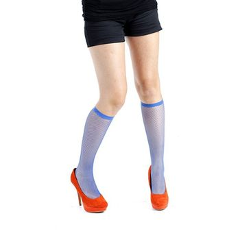 『摩達客』英國進口【Pamela Mann】藍色細格及膝高筒襪
