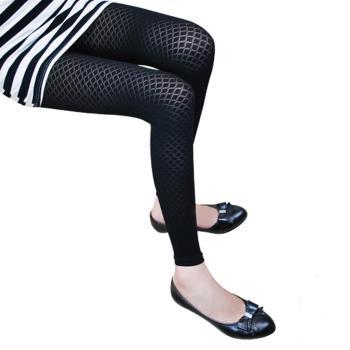 【GLANZ 格藍絲】320丹韓版塑身美腿內搭九分襪(優美細格子)