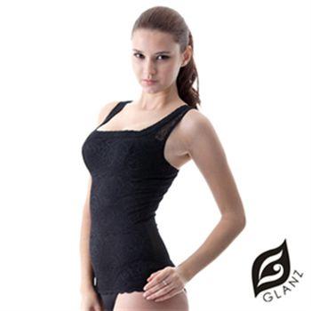 【GLANZ 格藍絲】280丹精品蕾絲V型美背托胸纖腹勻體背心黑
