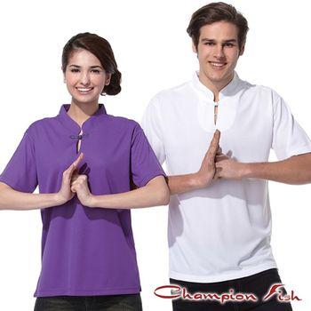 【Champion Fish】禪風短袖排汗立領衫-紫色