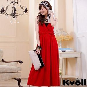 【KVOLL中大尺碼】紅色V領針織縷空美背連身長裙JK-0223
