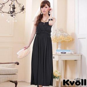 【KVOLL中大尺碼】黑色V領針織縷空美背連身長裙JK-0223