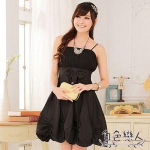 【白色戀人中大尺碼】黑色唯美壓褶收腰燈籠裙小禮服JK-0227