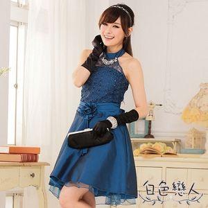 【白色戀人中大尺碼】藍色宮廷縷空緹花圍脖小禮服JK-0225