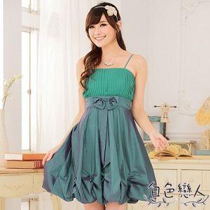【白色戀人中大尺碼】綠色唯美壓褶收腰燈籠裙小禮服JK-0227