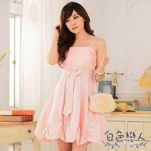 【白色戀人中大尺碼】粉色唯美壓褶收腰燈籠裙小禮服JK-0227