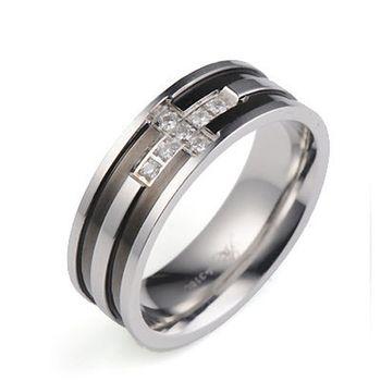 【Victoria sky】愛的十字316L西德鋼戒指(男款)