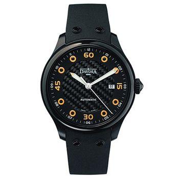 DAVOSA XM8 碳纖維時尚機械腕錶-IP黑/橘標/42mm