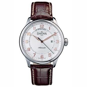 DAVOSA Pares 機械腕錶-白x玫瑰金時標/44mm