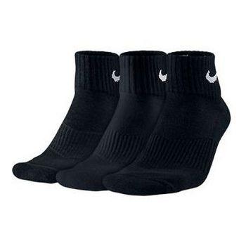 Nike 男舒適襯墊1/4高黑色運動襪3件組